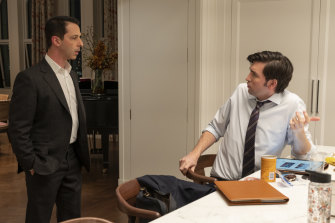 Nicholas Braun as Greg and Jeremy Strong as Kendall in the third season of Succession.